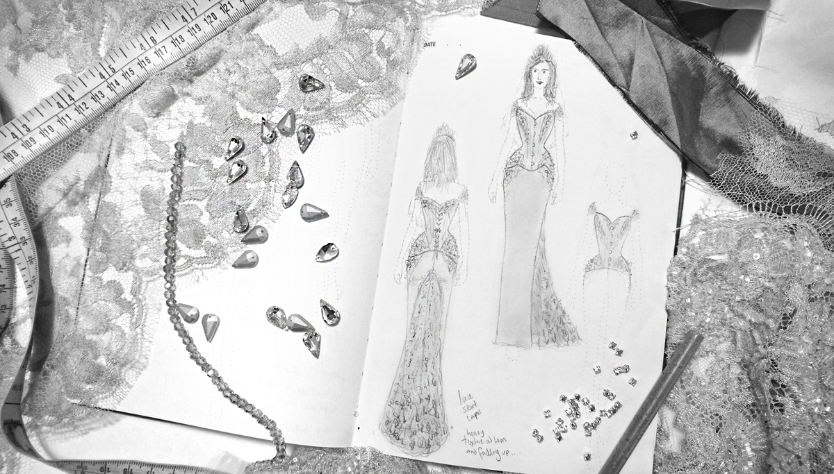 Sketch of couture bridal gown with lace and Swarovski beads. © Vanyanis.