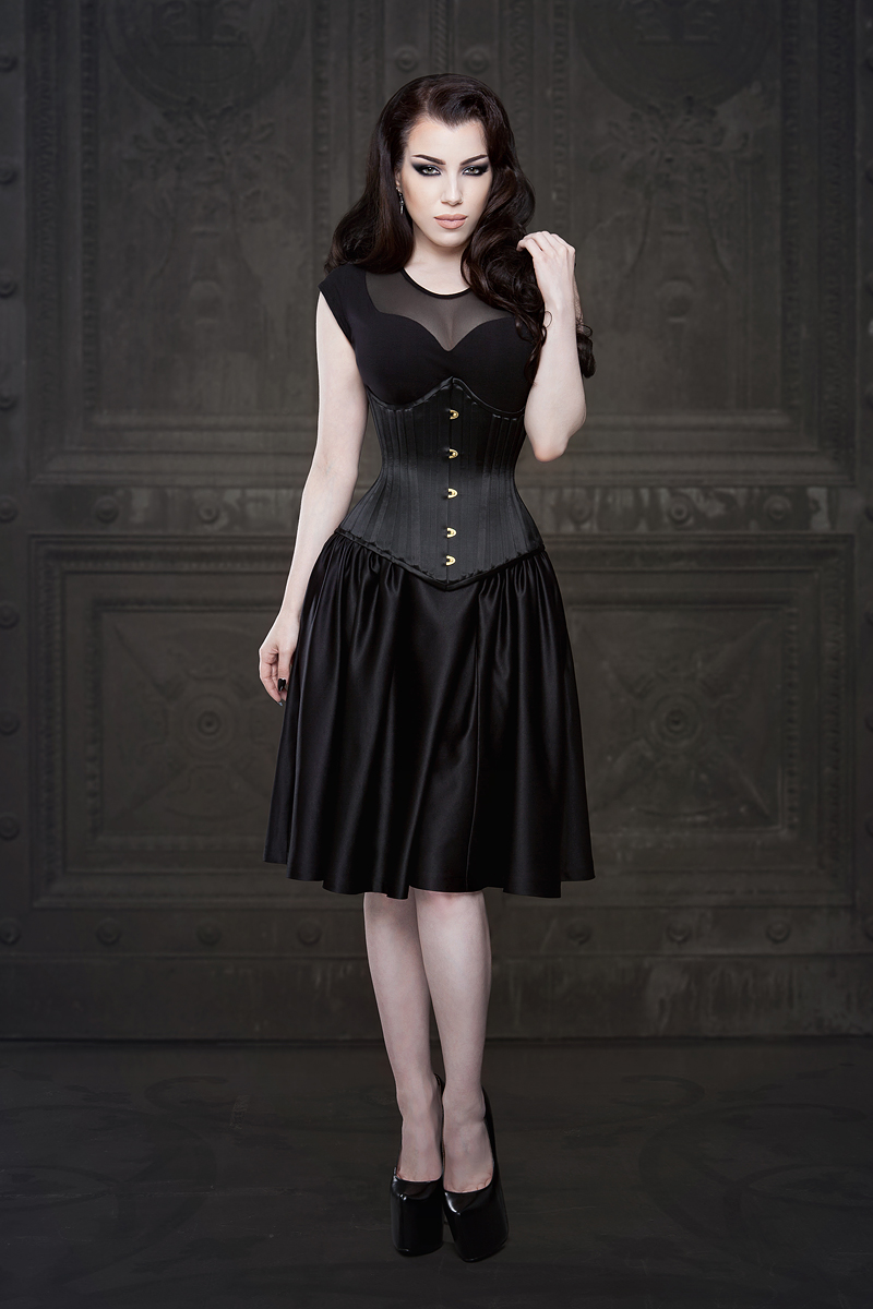 Ebonique Black Satin Skirt with Pockets - Vanyanis