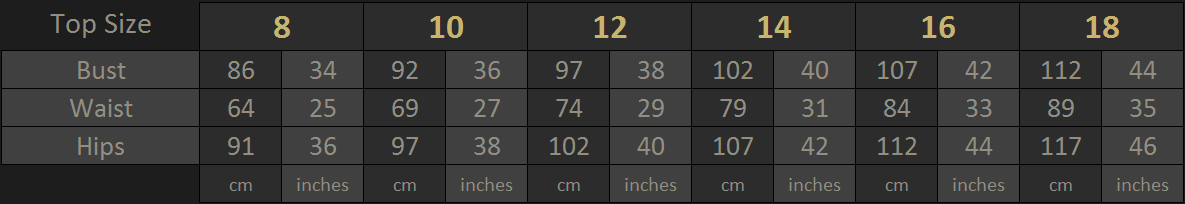 Vanyanis Ebonique Top Size Chart