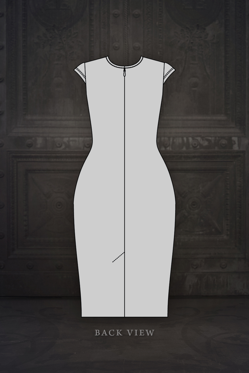 Ebonique Pencil Dress back view illustration © Vanyanís