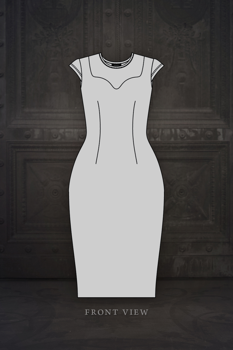 Ebonique Pencil Dress front view illustration © Vanyanís