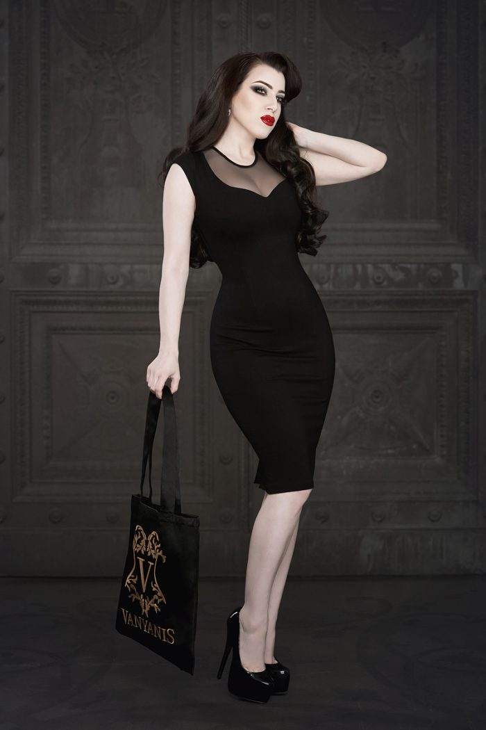 Ebonique Pencil Dress by Vanyanis. Model: Threnody in Velvet © Iberian Black Arts