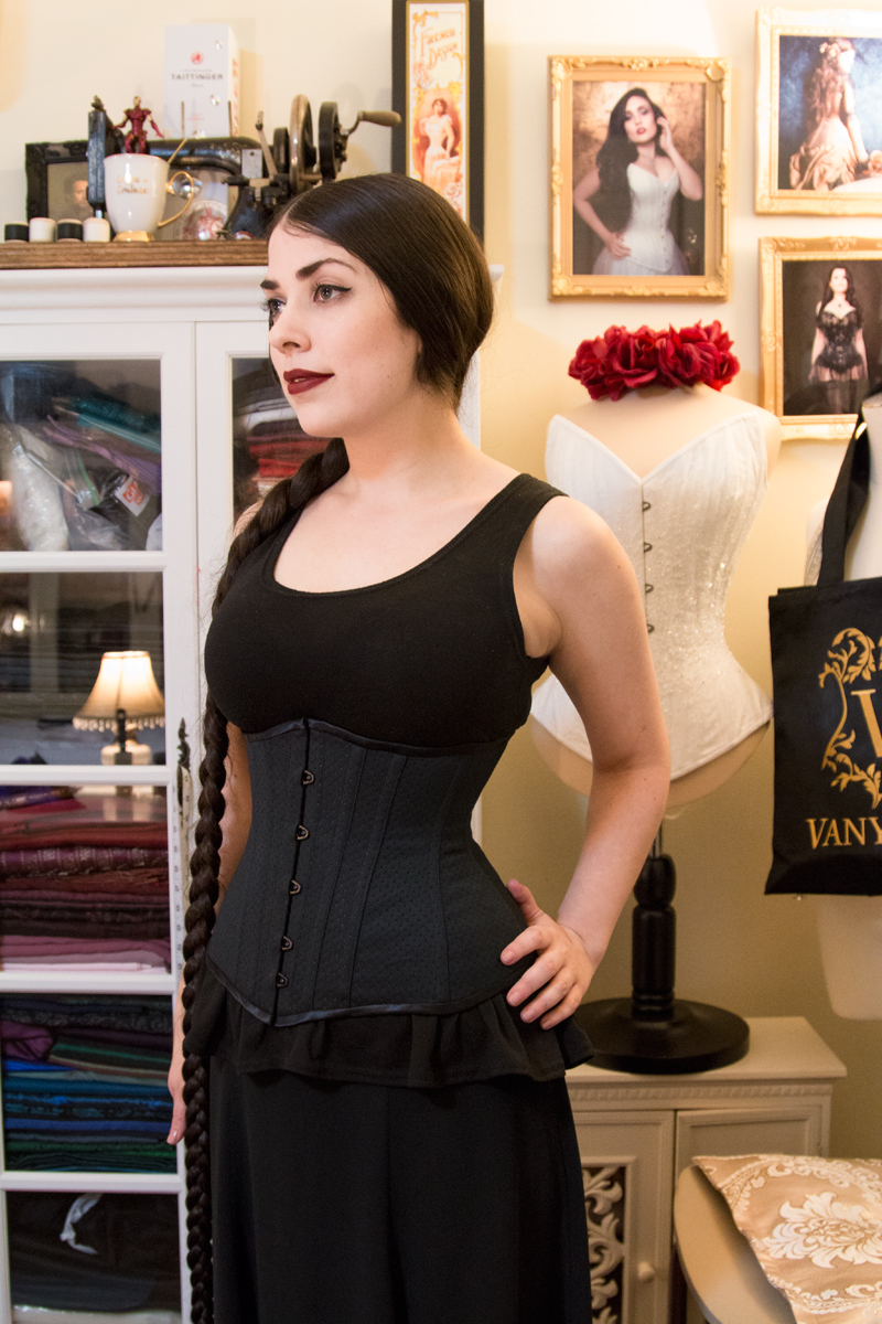 Corsetry student Amy in her self-made underbust corset!