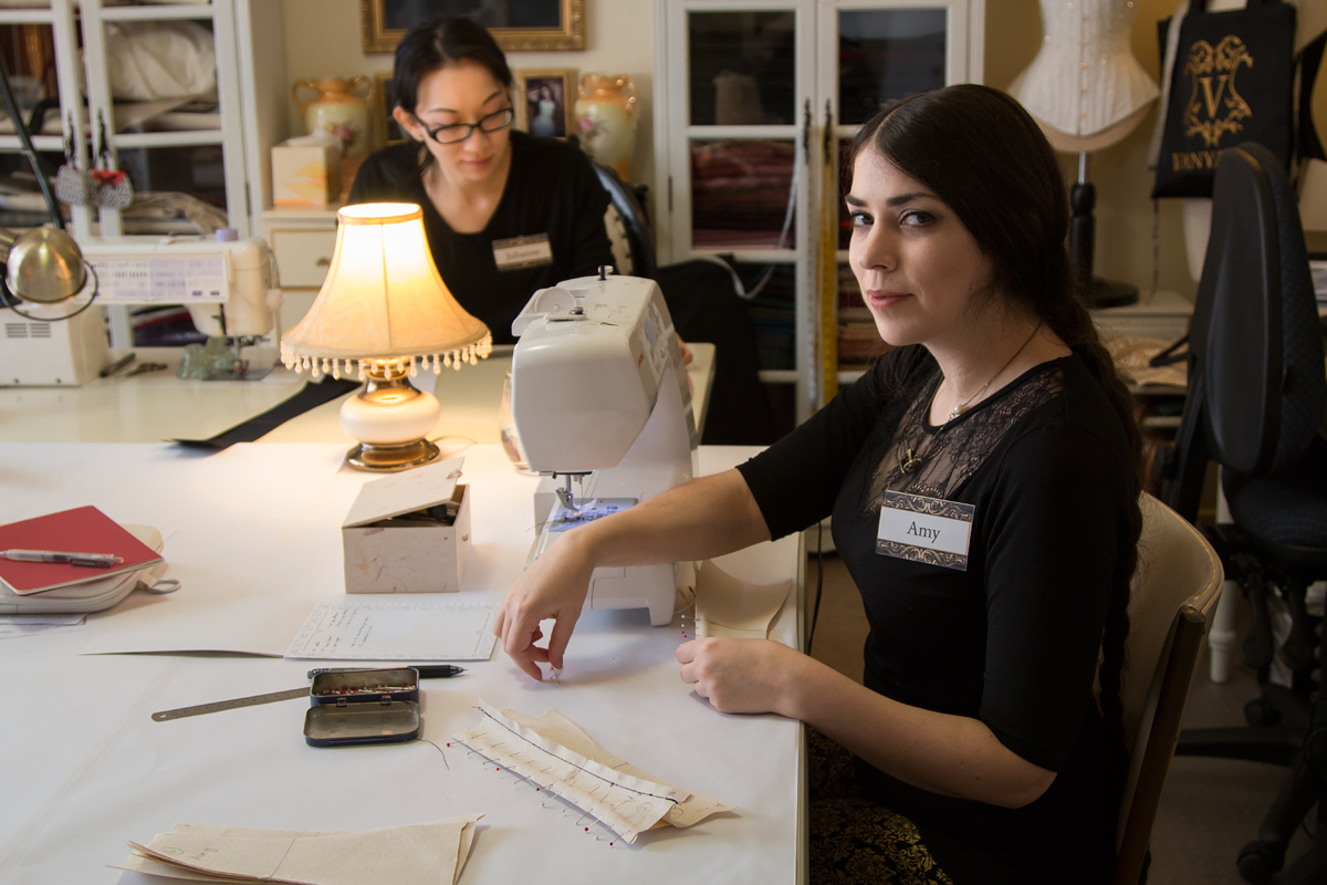 Student Amy working on her corset toile © Amy Earl