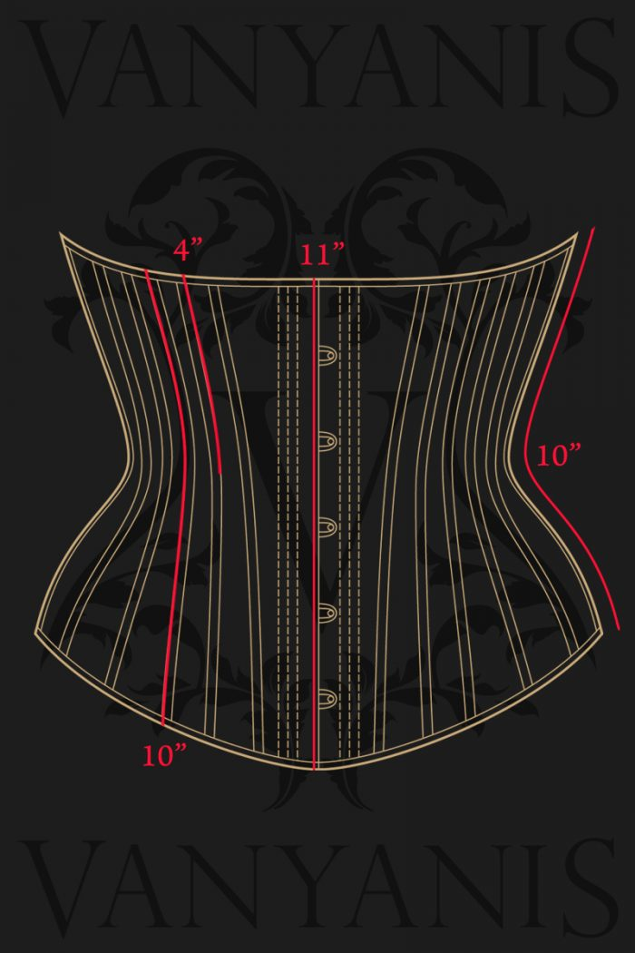 Lillian Corset Vertical Measurements © Vanyanís
