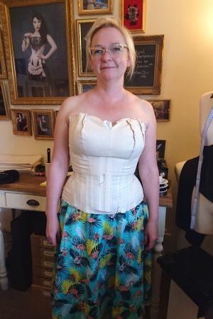 Corsetmaking student Kathy in her corset toile - Vanyanis Corsetry Course