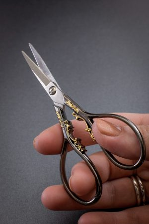 Black and Gold Ornate Embroidery Scissors