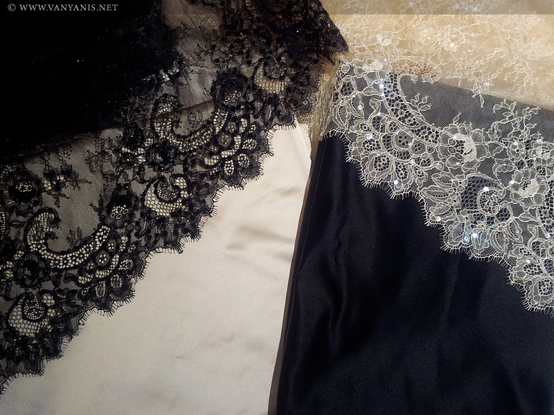 Lace laid over the silk fabric… yum!
