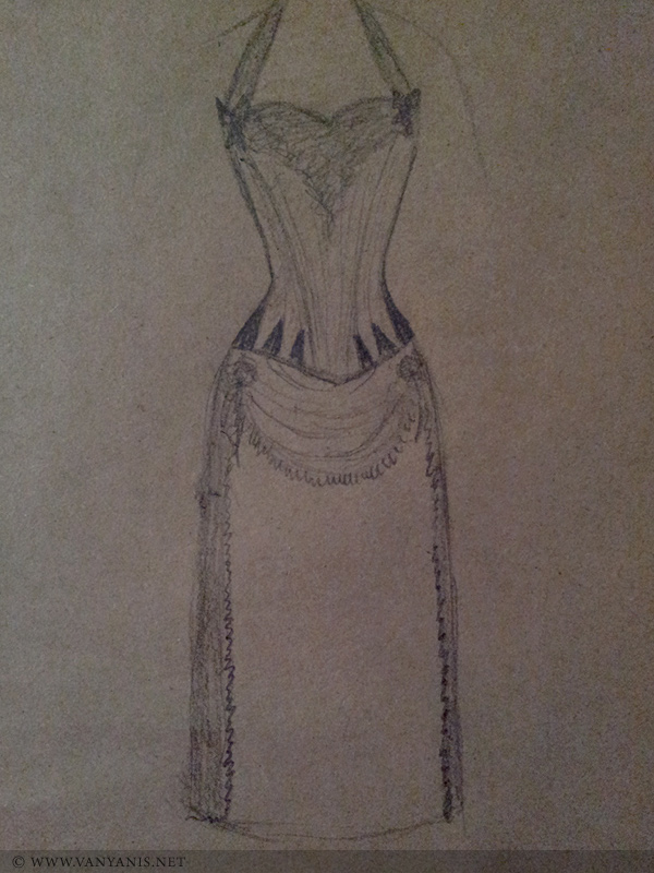 My initial sketch of the outfit which doesn't really do the design justice