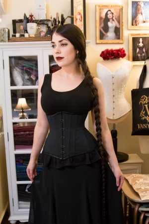 Corsetry course student Amy in her self made underbust corset!
