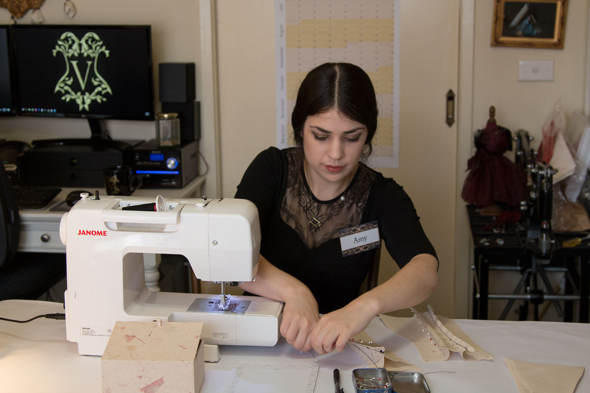 Amy sewing her toile © Amy Earl