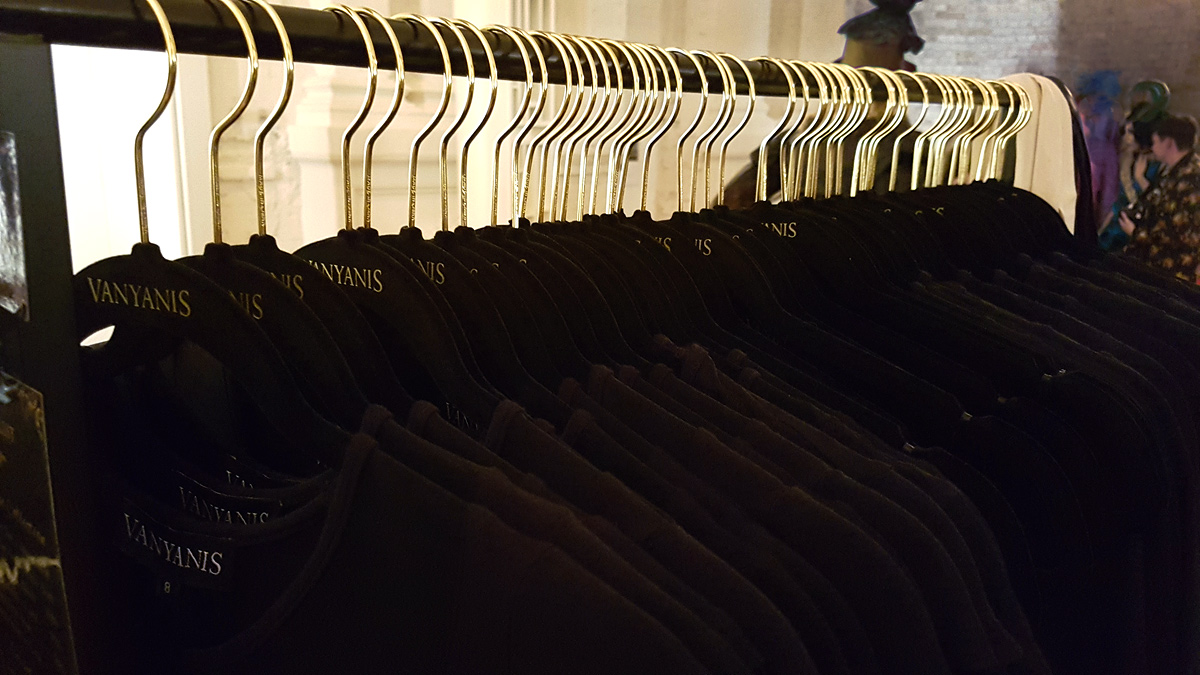 The Ebonique Collection hanging on our branded Vanyanís black and gold hangers © Vanyanís