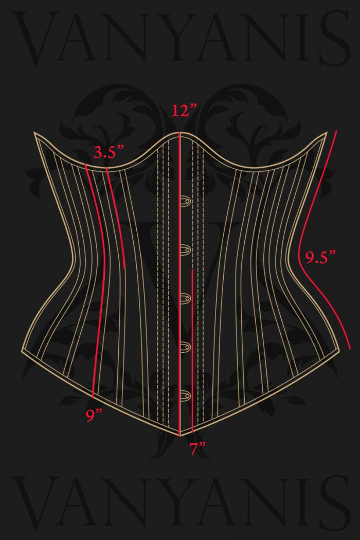 Ruby-Underbust-Corset-front-Measurements