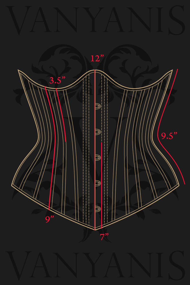 Ruby Corset Vertical Measurements © Vanyanís